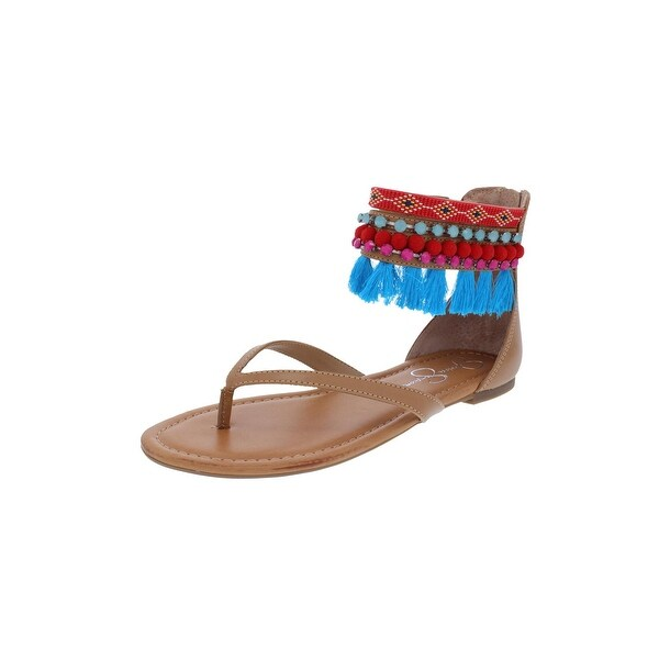 fb157c4574e0 Jessica Simpson Womens Raquelle Flat Sandals Embellished Ankle Cuff - 8  medium (b