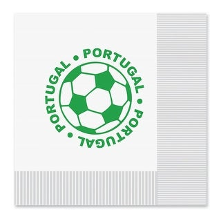"Club Pack of 192 White and Green 2-Ply ""Portugal"" Soccer Ball Paper Party Lunch Napkins 6.5"""