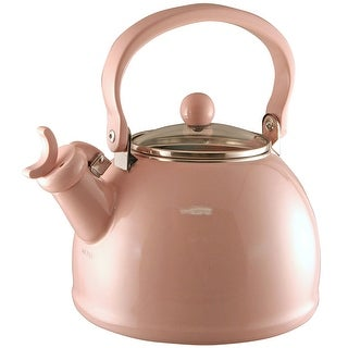 Calypso Basics by Reston Lloyd Harmonic Hum Whistling Teakettle with Glass Lid, 2.2-Quart, Pink