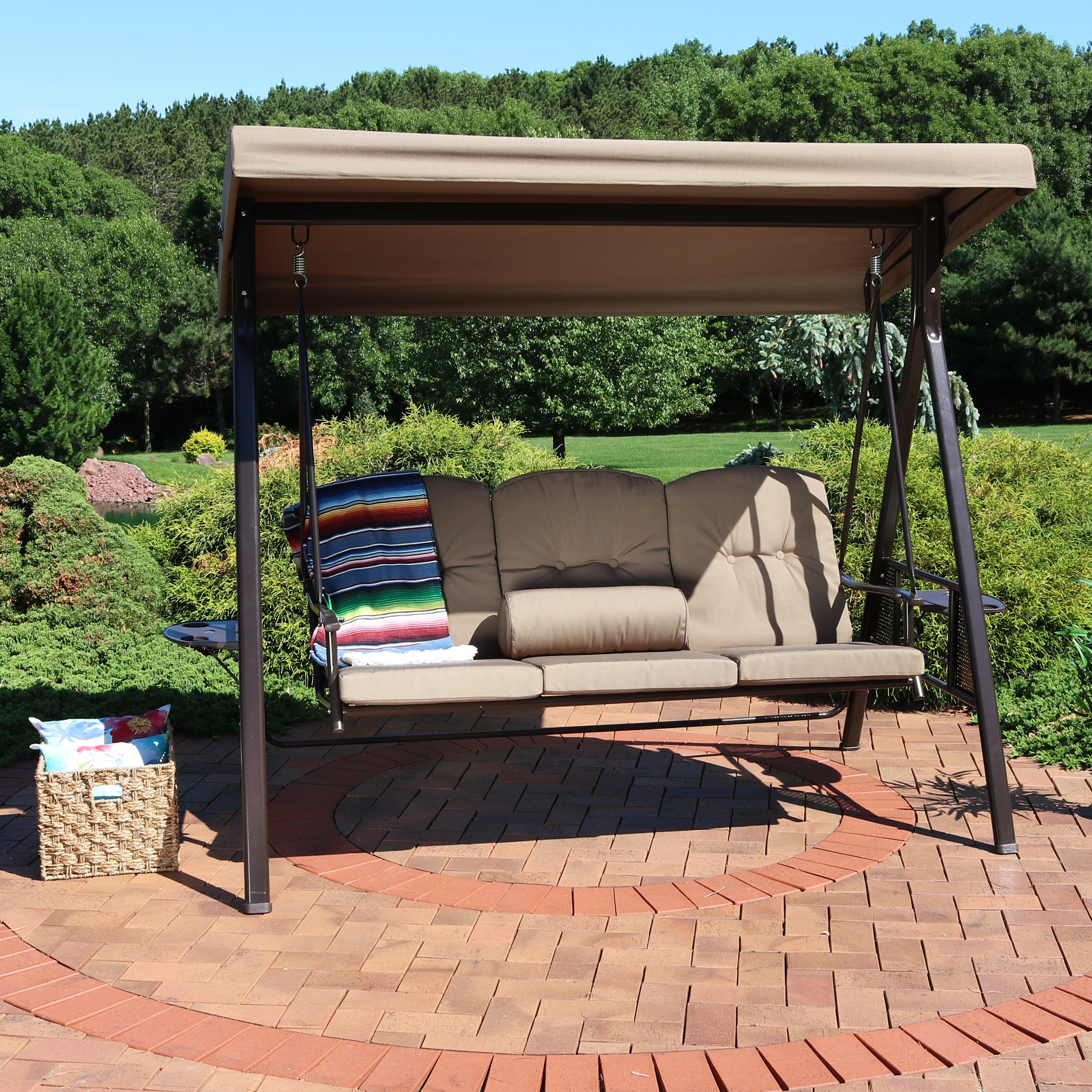 Sunnydaze 3 Person Adjule Tilt Canopy Patio Swing With Pillows And Cushions