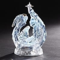 "10"" Clear LED Lighted Holy Family with Angel Leaf Musical Tabletop Figurine"