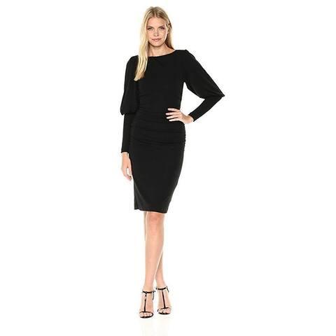 Nicole Miller Women's Matte Jersey Puff Sleeve Dress, Black/Black, Sz: S