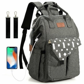 Gymax Diaper Bag Waterproof Baby Nappy Backpack w/USB Charging Port