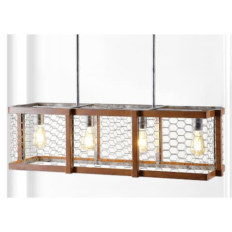 """Gaines 34.5"""" Linear 4-Light Adjustable Iron Rustic Industrial LED Pendant, Brown/Silver by JONATHAN Y"""
