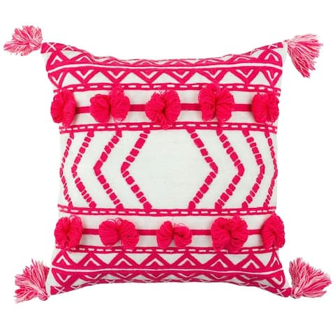 """Embroidered Thelma Outdoor Pillow, 17"""" sq."""