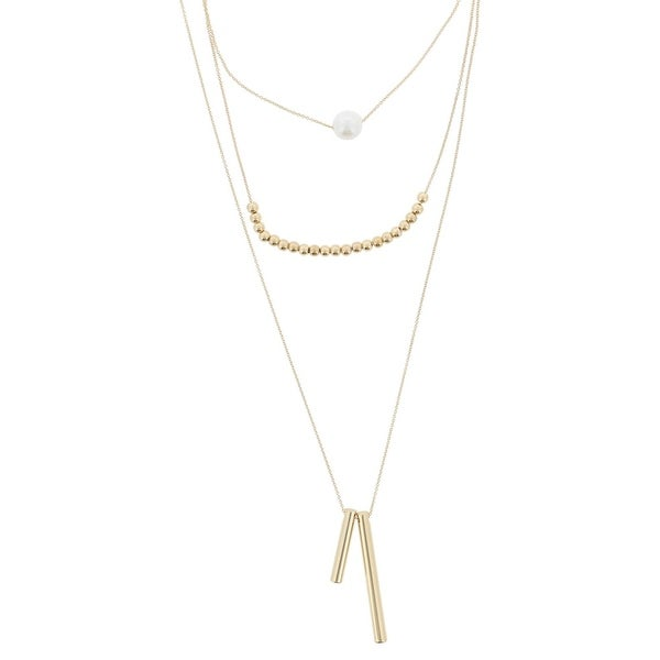 058737d2b9 Shop BCBGeneration Womens Multi-Chain Necklace Faux Pearl Layered ...