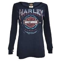 Harley-Davidson Women's Thunder Fury Long Sleeve Open Neck Jersey Tee, Navy