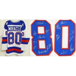 1980 USA Hockey 'Miracle On Ice' Team Signed USA Blue Custom #80 Throwback Jersey PSA