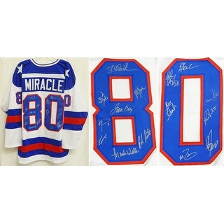 1980 USA Hockey Miracle On Ice Team USA Blue Custom 80 Throwback Jersey  PSA