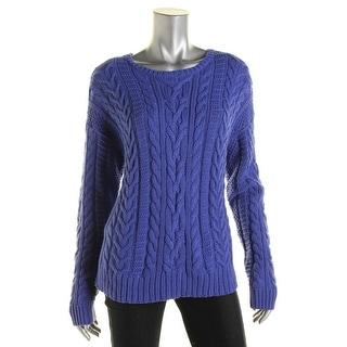 Lauren Ralph Lauren Womens Cable Knit Jewel Pullover Sweater