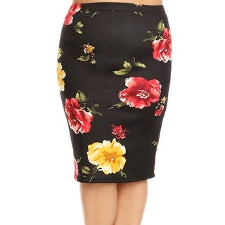 Women Plus Size Trendy Floral Pattern Pencil Skirt Black