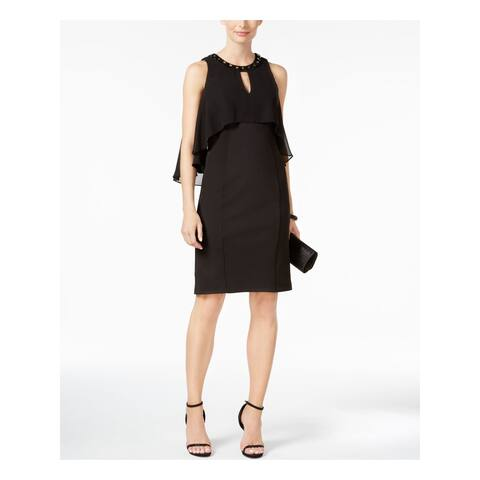 SLNY Womens Black 3/4 Sleeve Knee Length Sheath Evening Dress Size 4