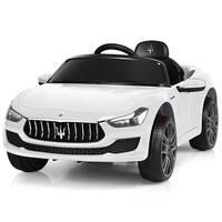 Gymax 12V Maserati Licensed Kids Ride on Car w/ RC Remote Control Led Lights MP3 White