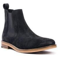 Crevo Men's Denham Chelsea Boot Black Suede