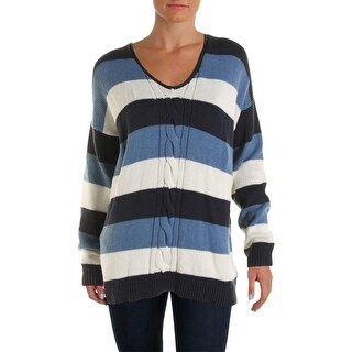 American Living Womens Pullover Sweater Striped Cable Knit