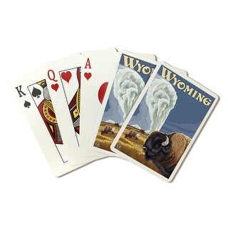 Yellowstone National Park, Wyoming - Buffalo at Old Faithful - Lantern Press Artwork (Poker Playing Cards Deck)