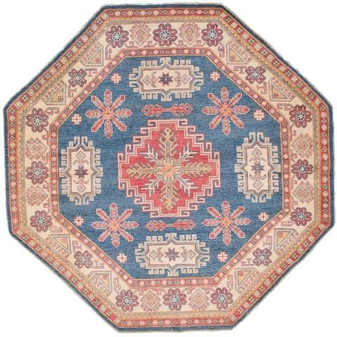 "ECARPETGALLERY Hand-knotted Finest Gazni Blue Wool Rug - 6'7"" x 6'7"" Octagon"