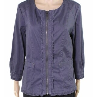 Live a Little NEW Blue Women's Size Large L Zip-Front Ruffle Jacket