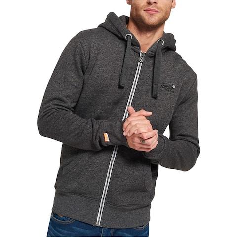 Superdry Mens Logo Zip Up Hoodie Sweatshirt, Grey, Small