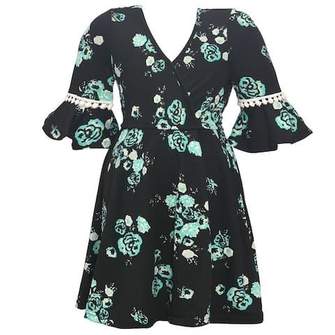Girls Aqua Contrast Flower Print Flared Cuff Tea-Length Dress