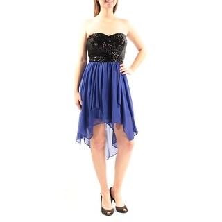 Womens Blue Black Sleeveless Below The Knee Hi-Lo Prom Dress Size: 9