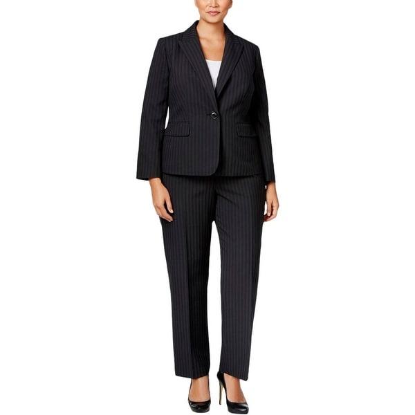 Le Suit Womens Pant Suit Striped Peak Lapel