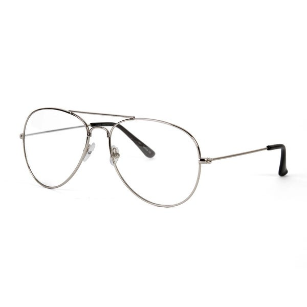 Gravity Silver Frame Clear Lens Aviator - One size