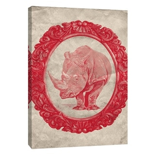 """PTM Images 9-105915  PTM Canvas Collection 10"""" x 8"""" - """"Framed Rhinoceros in Crimson"""" Giclee Rhinoceroses Art Print on Canvas"""