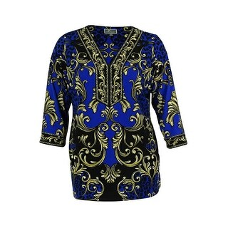 JM Collection Women's Embellished Jersey Tunic Top - blue scroll