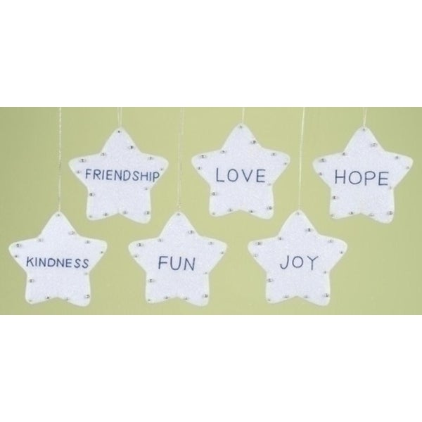 Club Pack of 12 Assorted Stars With Inspirational Words Christmas Ornaments