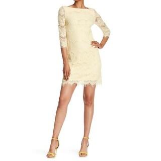 Eliza J Womens Floral Lace Eyelash Trim Sheath Dress