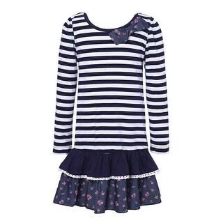 Richie House Baby Girls White Navy Striped Floral Print Dress 12M