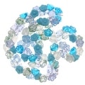 Czech Glass Flower Drops Aqua Blue Serenity Color Mix 7mm (100 Beads) - Thumbnail 0