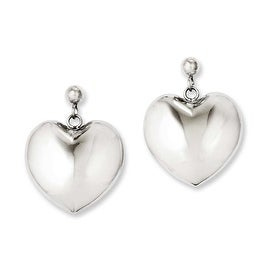 Chisel Stainless Steel Polished Puff Heart Post Dangle Earrings