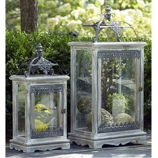 Set of 2 Distressed Wood Pillar Candle Lanterns with Crafted Metal Work 38.5""