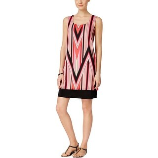 NY Collection Womens Casual Dress Printed Cross Back