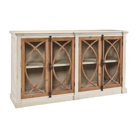 Chamblis 80-inch Fretwork Hutch Sideboard Server with Cremone Bolts