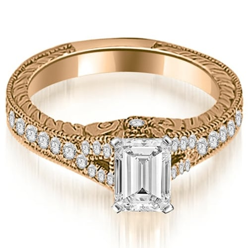 1.00 cttw. 14K Rose Gold Antique Emerald Cut Diamond Engagement Ring