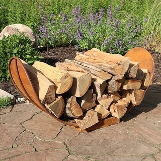 Sunnydaze 3ft Outdoor Rustic Style Firewood Log Rack Holder