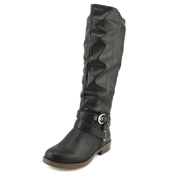 XOXO Martin Round Toe Leather Knee High Boot