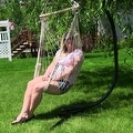 Sunnydaze Cotton Rope Hammock Chair with Wood Spreader Bar - Thumbnail 4