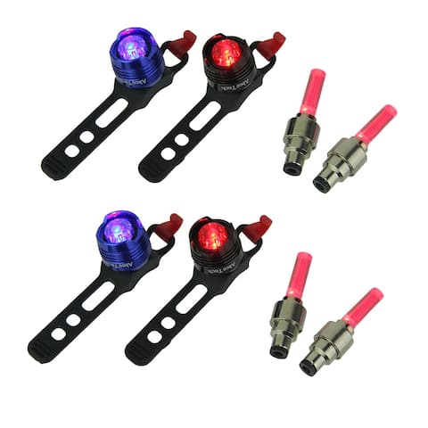 Red and Blue Rear LED Bicycle Lights with Red Valve Wheel Lights Set of 2 - 1.25 X 4.25 X 1 inches