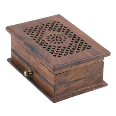 NOVICA Floral Dignity, Wood jewelry box