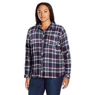 Dickies WomenS Plus Size Long-Sleeve Flannel Shirt, Black I - black iris texas topez plaid