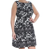 VINCE CAMUTO Womens Black Pleated Printed Sleeveless Jewel Neck Above The Knee Fit + Flare Cocktail Dress  Size: 14