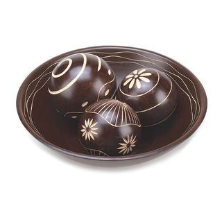 Decorative Bowl And Ball Accents - Brown