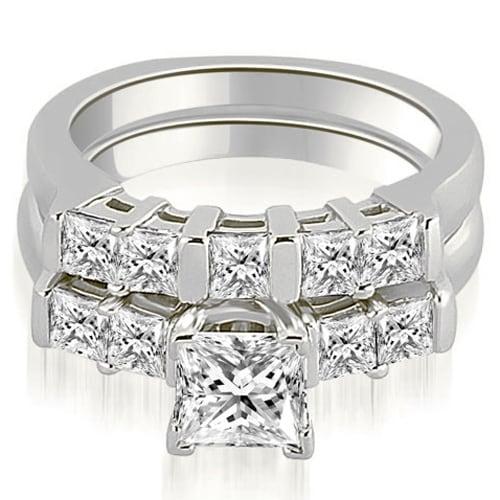 1.50 cttw. 14K White Gold Princess Cut Diamond Engagement Bridal Set