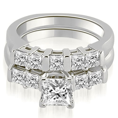 1.75 cttw. 14K White Gold Princess Cut Diamond Engagement Bridal Set
