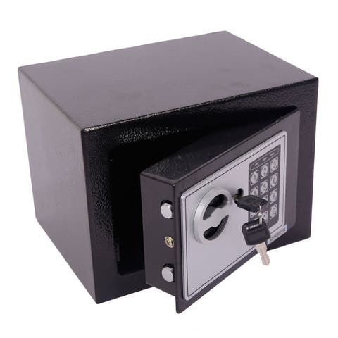 Home Office Security Keypad Lock Electronic Digital Steel Small Safe Box - Black