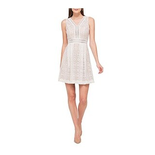Jessica Simpson Lace Fit and Flare Dress, Ivory/Nude, 6